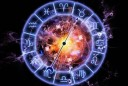 Backdrop on the subject of astrology, child birth, fate, destiny, future, prophecy, horoscope and occult beliefs composed of Zodiac symbols, gears, lights and abstract design elements