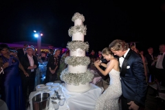 Newlyweds-Cut-Impressive-5-Tiered-Cake
